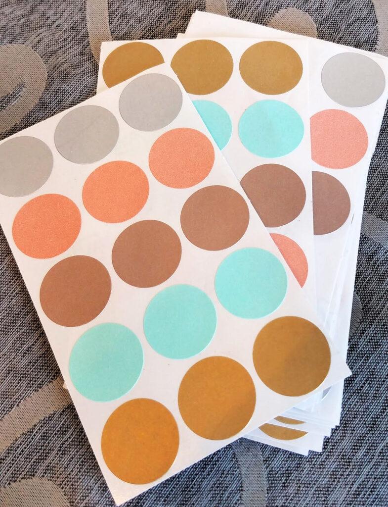 multi-colored dot stickers