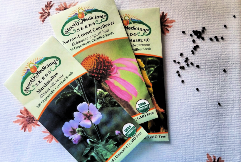 Seed packets with seeds on towel