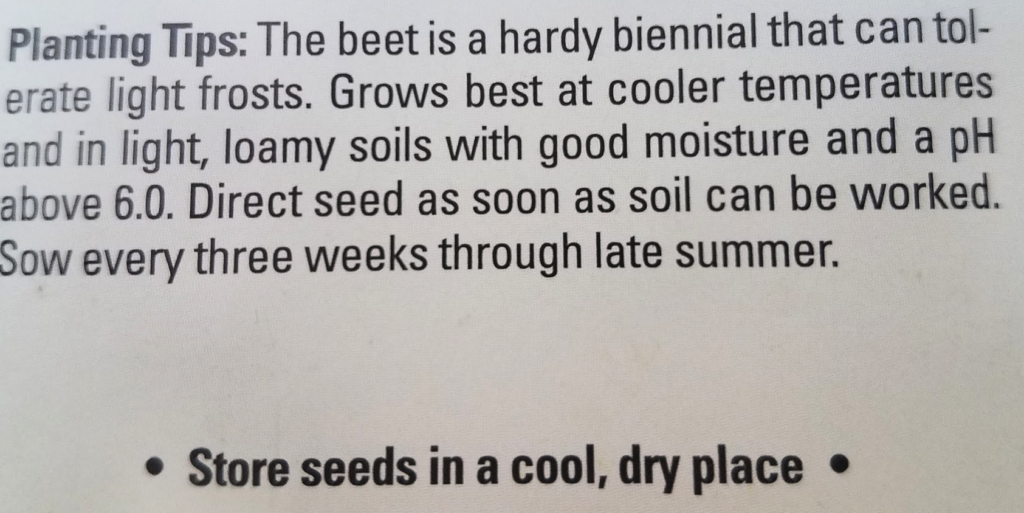Planting tips on back of seed packet
