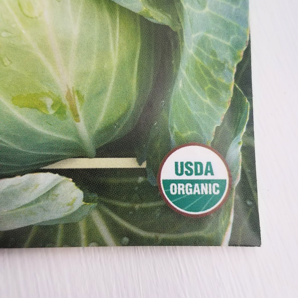seed packet with organic label