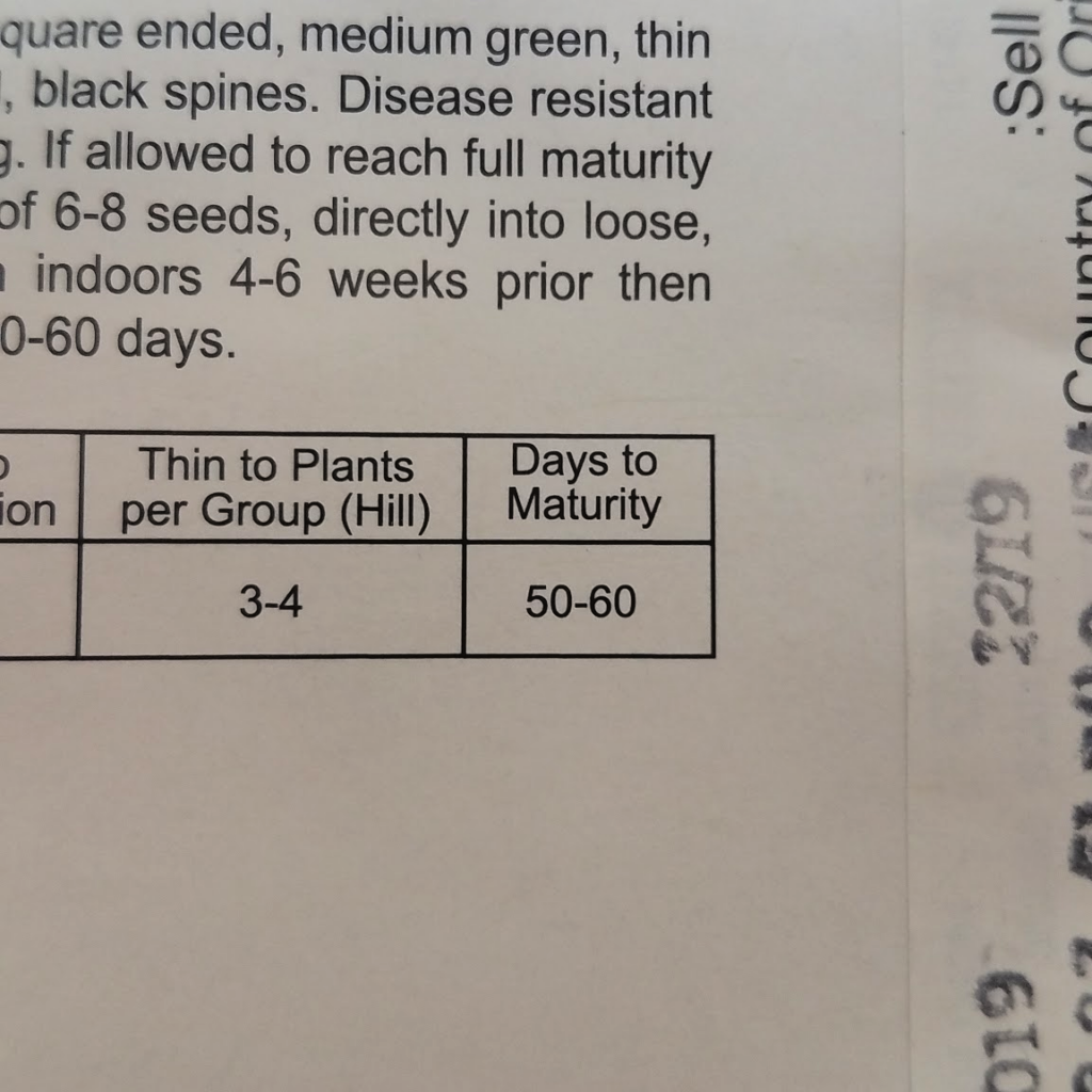 back of seed packet with days to maturity information