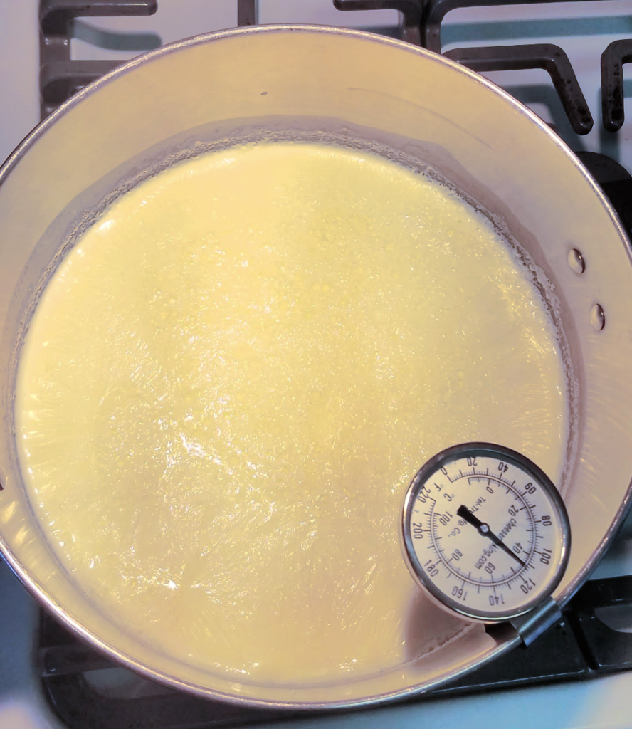 pot of milk on stove cooling with thermometer set at 110 degrees