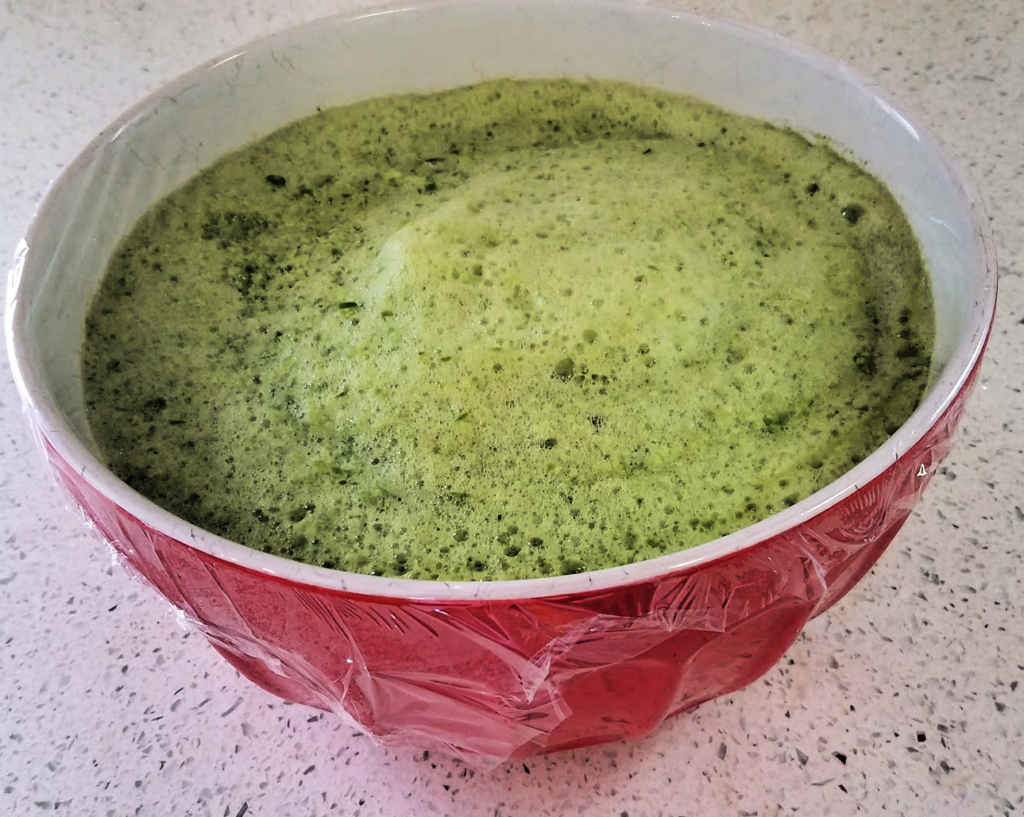 Red bowl of pureed green peppers covered with plastic wrap