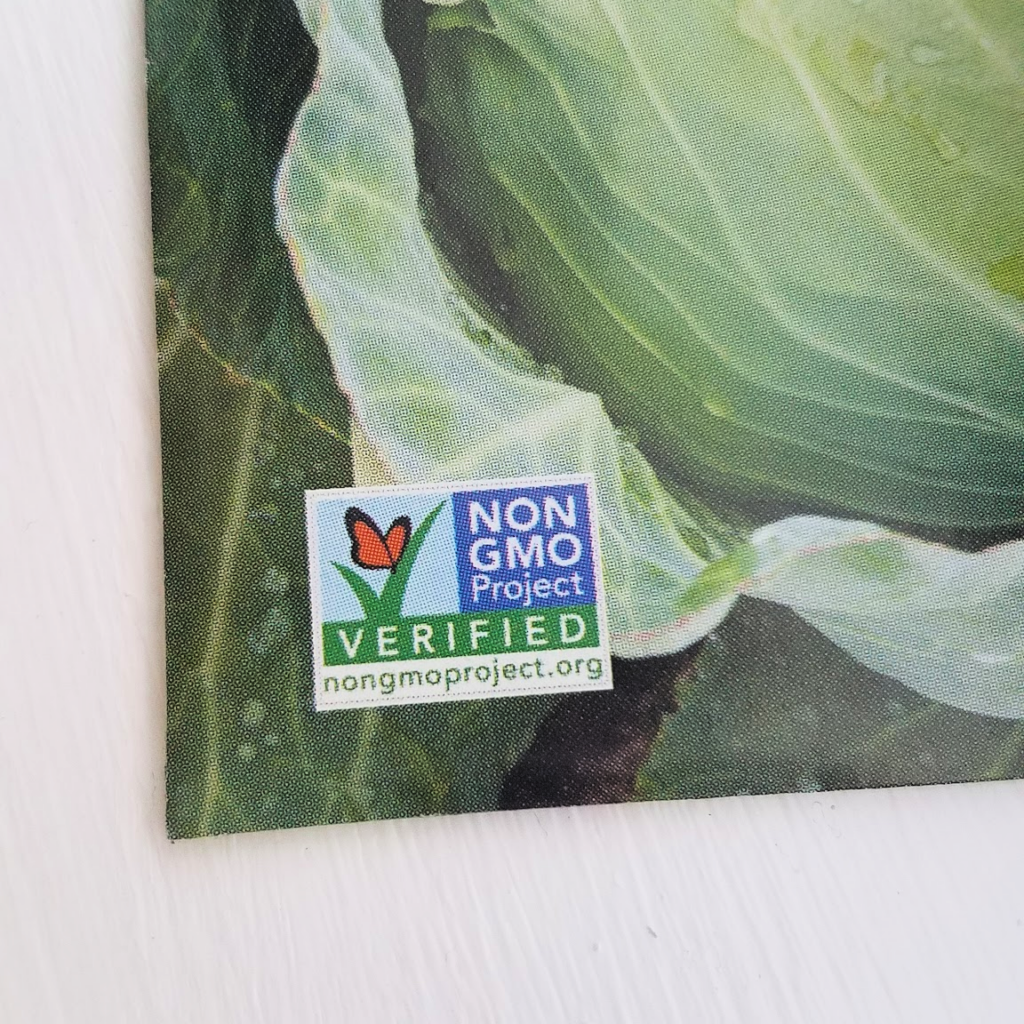 seed packet with non-GMO label